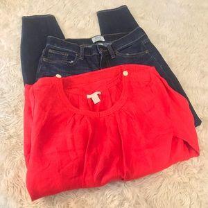 J CREW BUNDLE Toothpick Jeans Linen Blouse